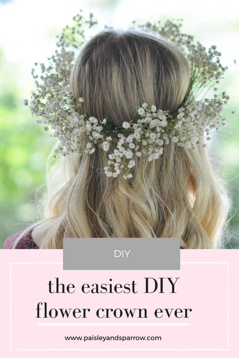 DIY baby's breath flower crown - a super simple DIY tutorial for your next party #flowercrown #diy #babysbreath