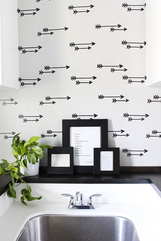 DIY Faux Wallpaper Wall – Laundry Room Reveal!