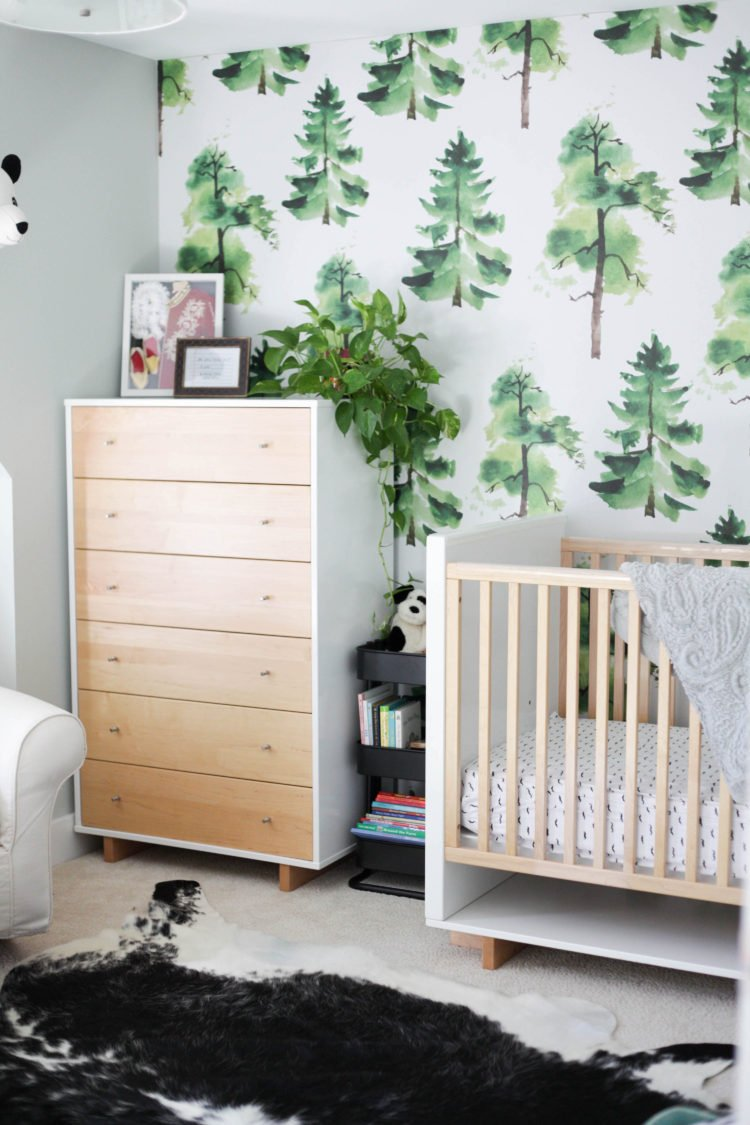modern kids room with tree removable wallpaper and wood and white room and board crib and dresser