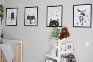 Etsy black and white kid animal art and tree bookshelf