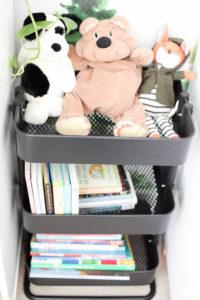 Modern kid room with bar cart bookshelf