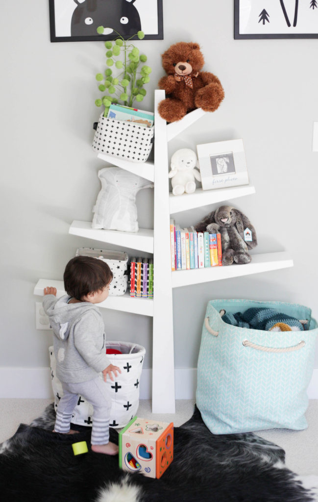 modern kid room with tree bookshelf