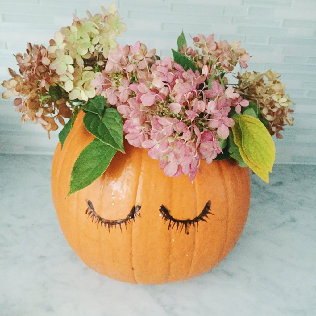 girly jack-o-lantern you don't need to carve with a flower crown