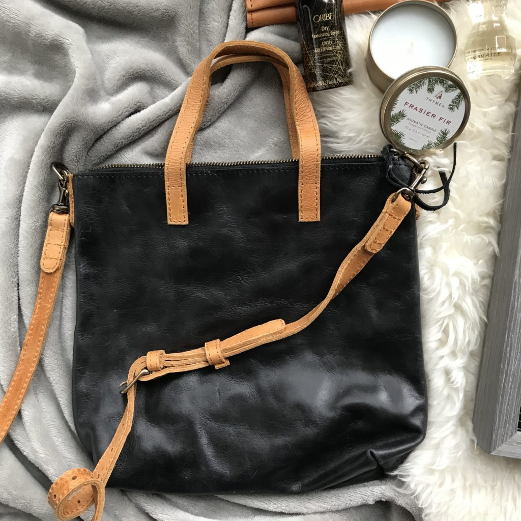 black cognac leather bag fashionable