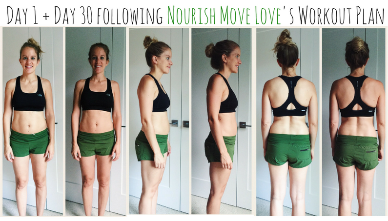 before and after photos after doing nourish move love's workout program