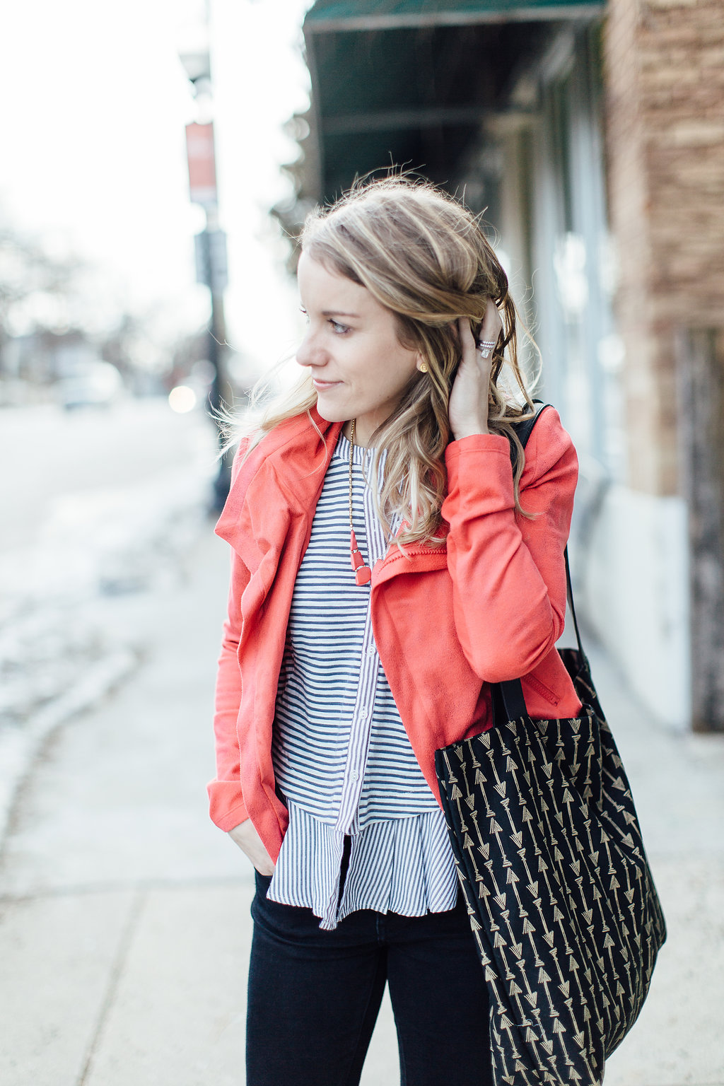 fall winter outfit, stripes and pink jacket