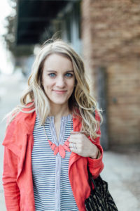 Matching statement necklace and jacket.
