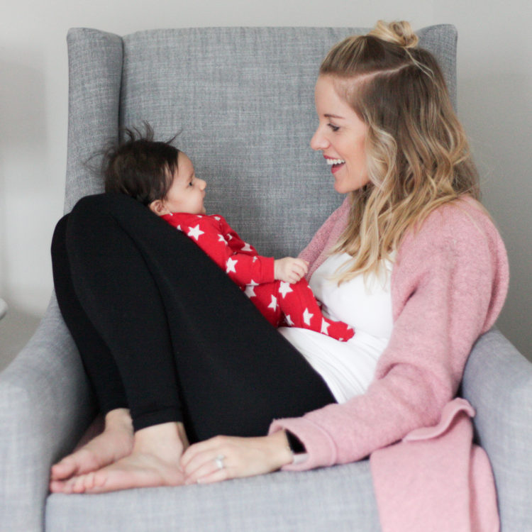 Hanging with a newborn baby in a blanqi pull down maternity top