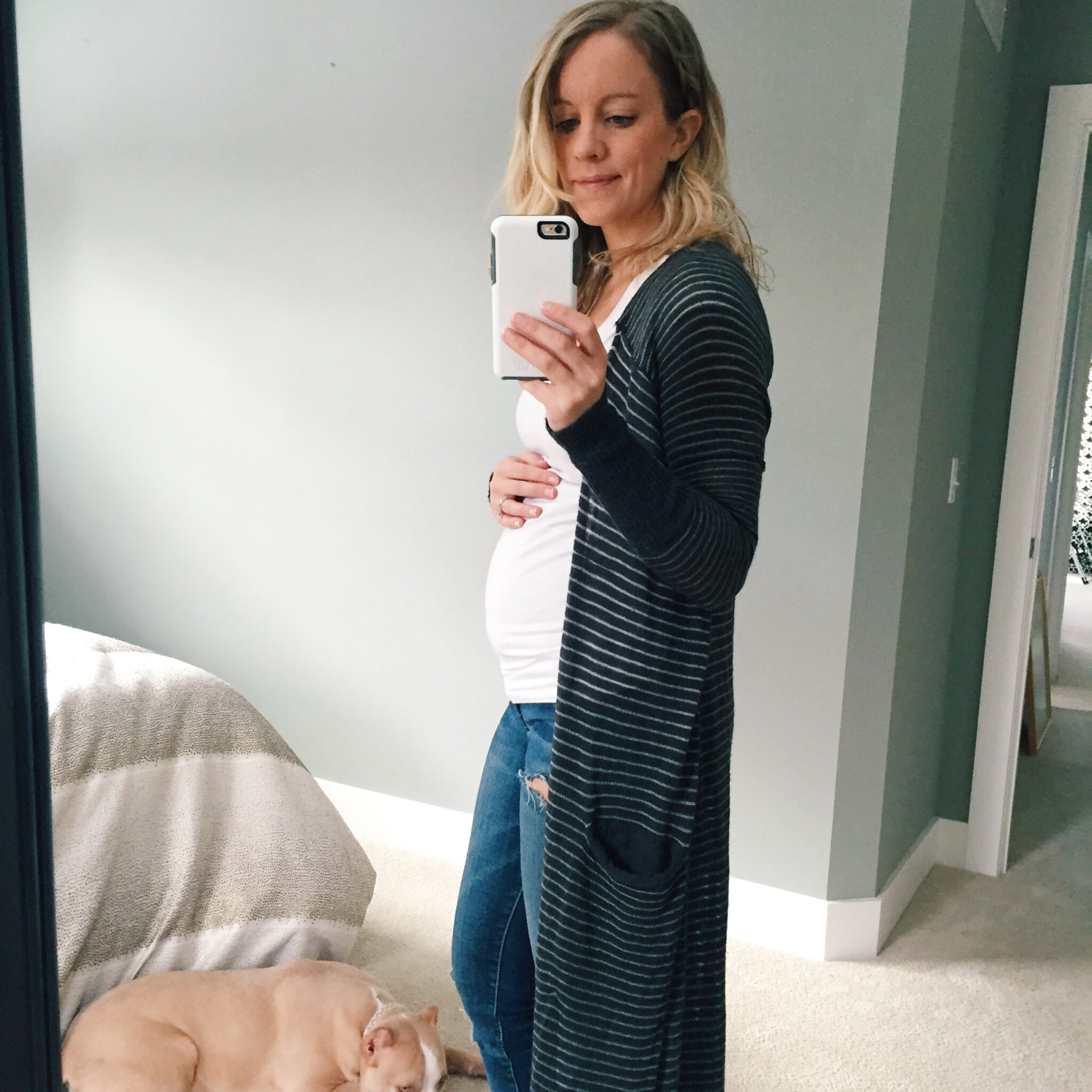 first trimester fashion wearing a long free people cardigan