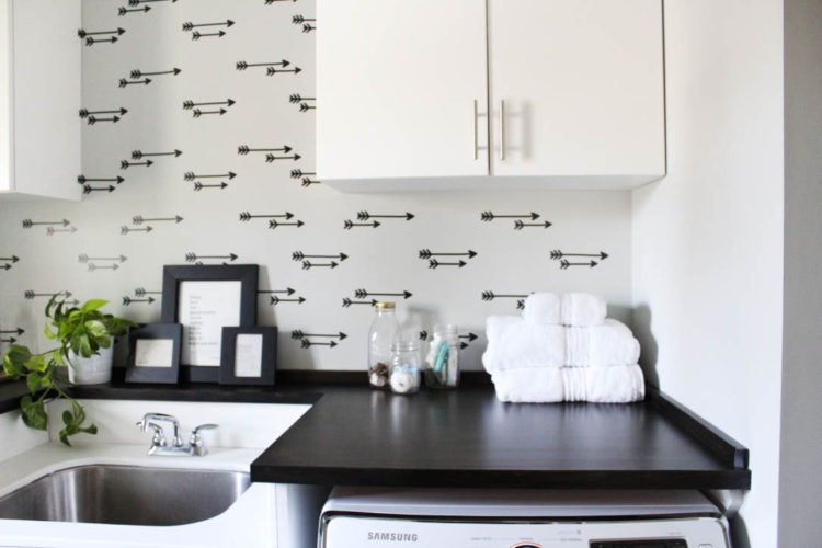 faux wallpaper wall – laundry room reveal!