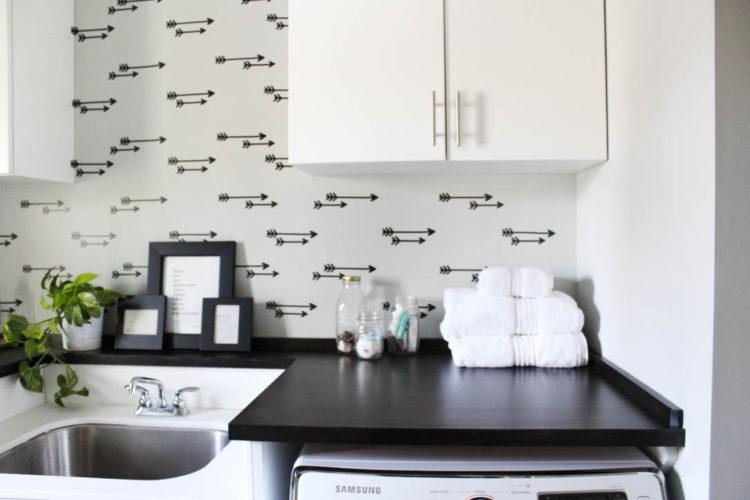 diy wallpaper wall – laundry room reveal!