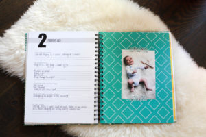 Sample 2 month old page from a simple, cute and easy baby book - polka dot print shop