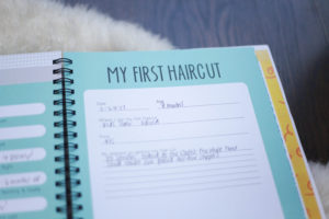 My first haircut documentation from a simple, cute and easy baby book - polka dot print shop