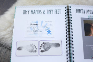 Foot prints from a simple, cute and easy baby book from polka dot print shop