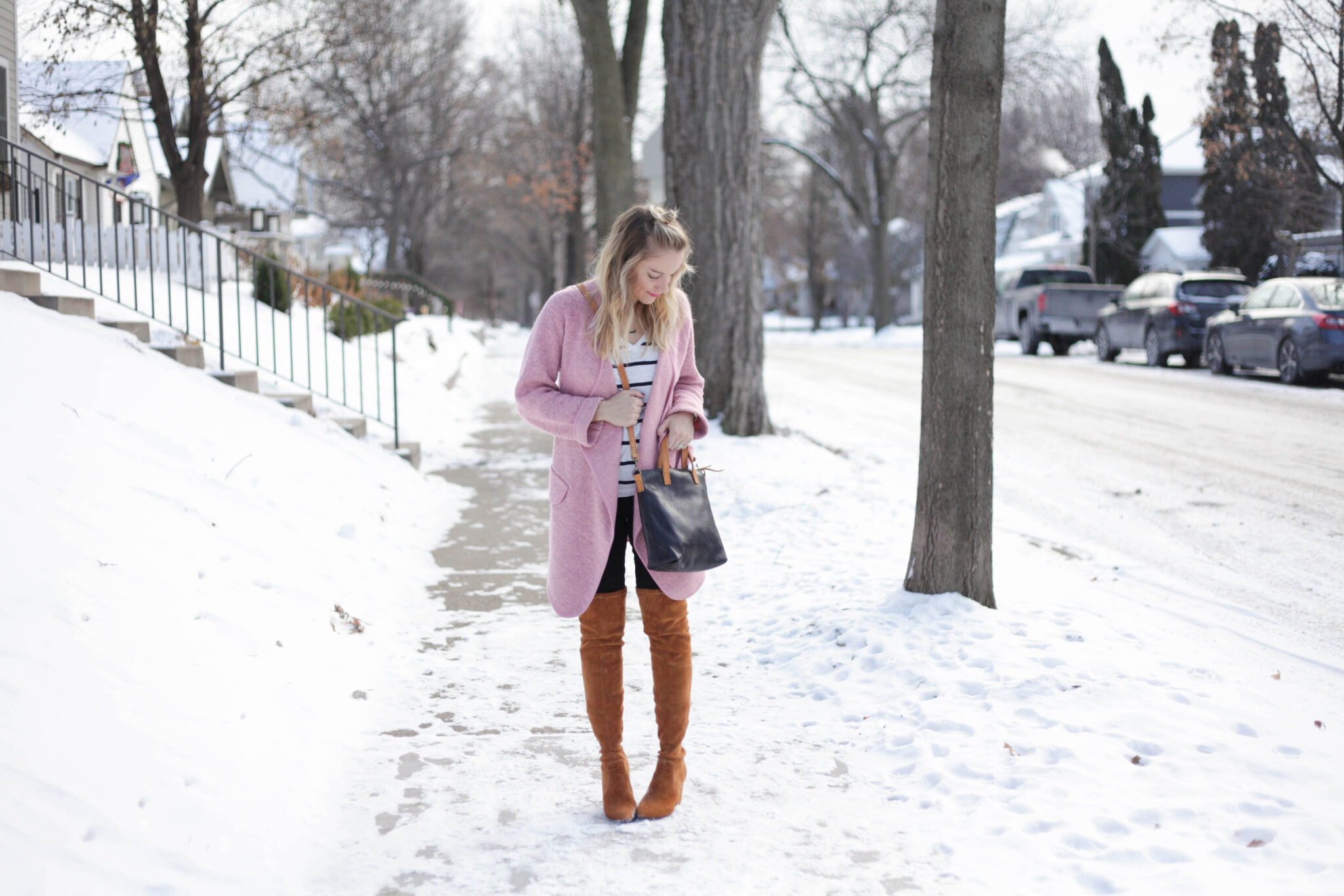 winter style - cognac over the knee boots + pink sweater