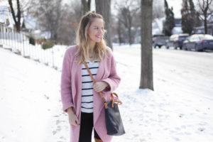 snow style - cognac over the knee boots + pink sweater and fair trade leather crossbody bag