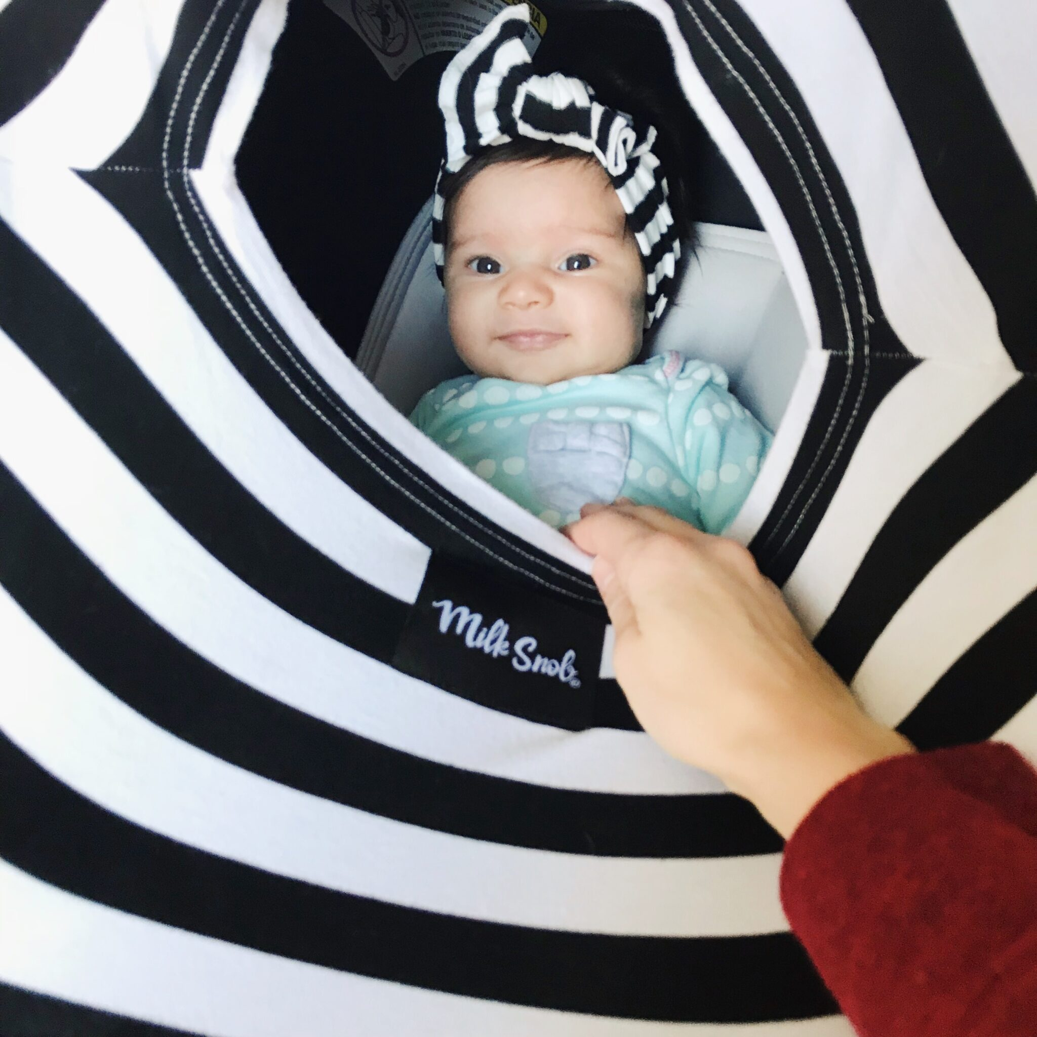 black white stripe milk snob nursing cover and baby bling bow