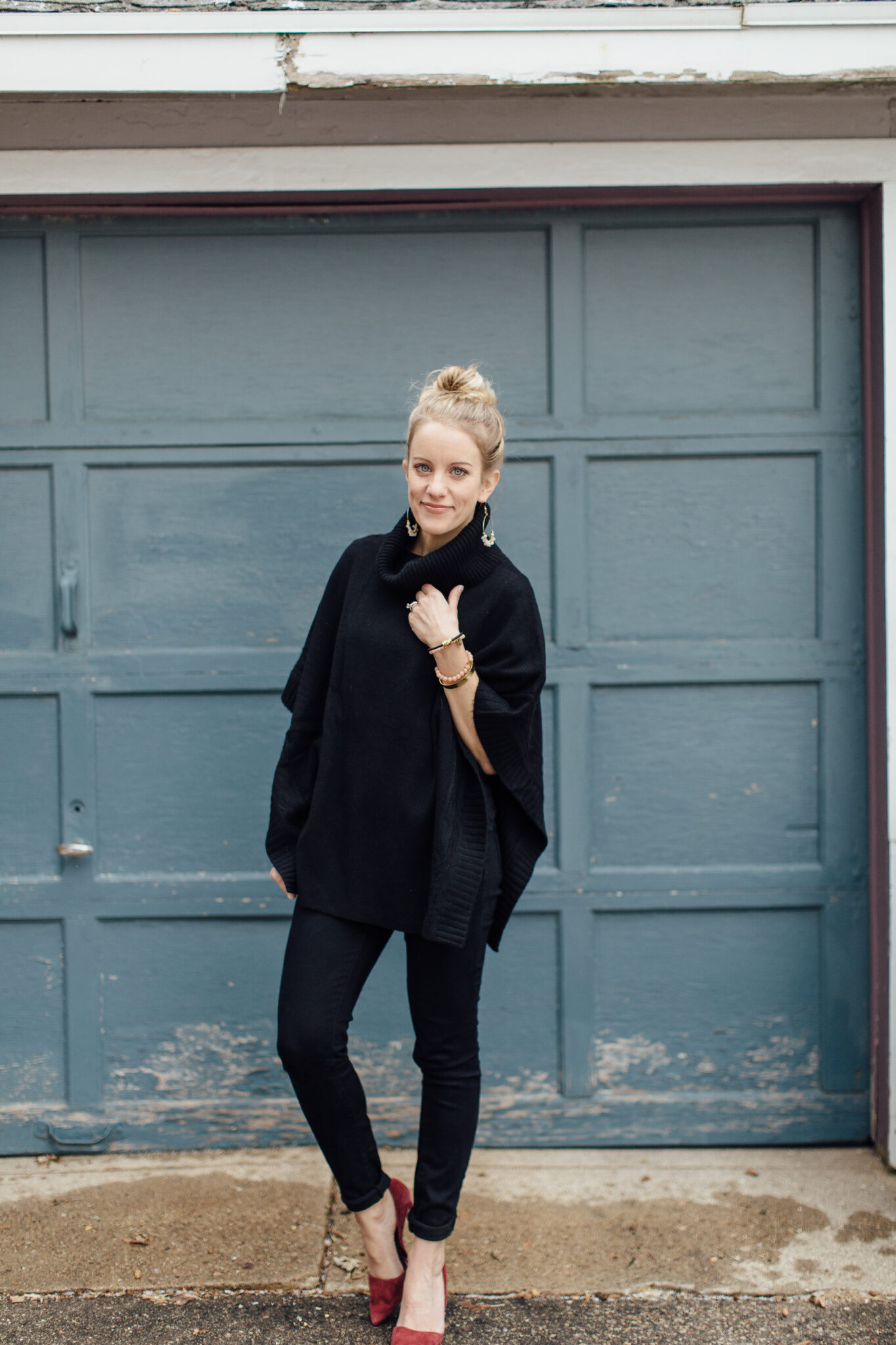 All black outfit with maroon heels