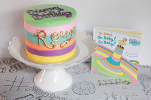 """dr suess """"oh, baby! go, baby!"""" birthday cake for 1 year old from Amy's Cupcake in minnesota"""