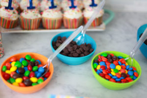 Ice cream bar with candy toppings for 1 year old birthday