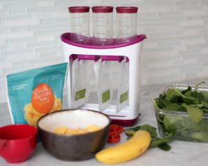 Making homemade baby food puree food from a pouch made in an infantino squeeze station.