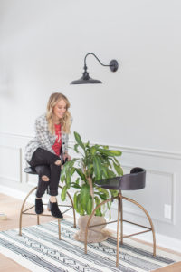 plant vignette with matching bar stools