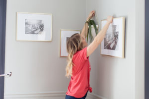 hanging plants and gold frames