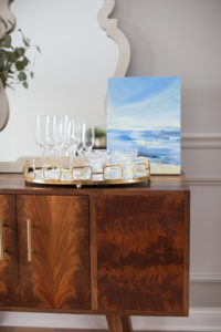 wine glass tray vignette