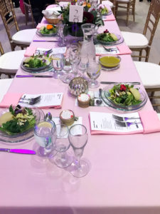 pink tablescape at 2018 art in bloom preview event hosted by thymes fragrance