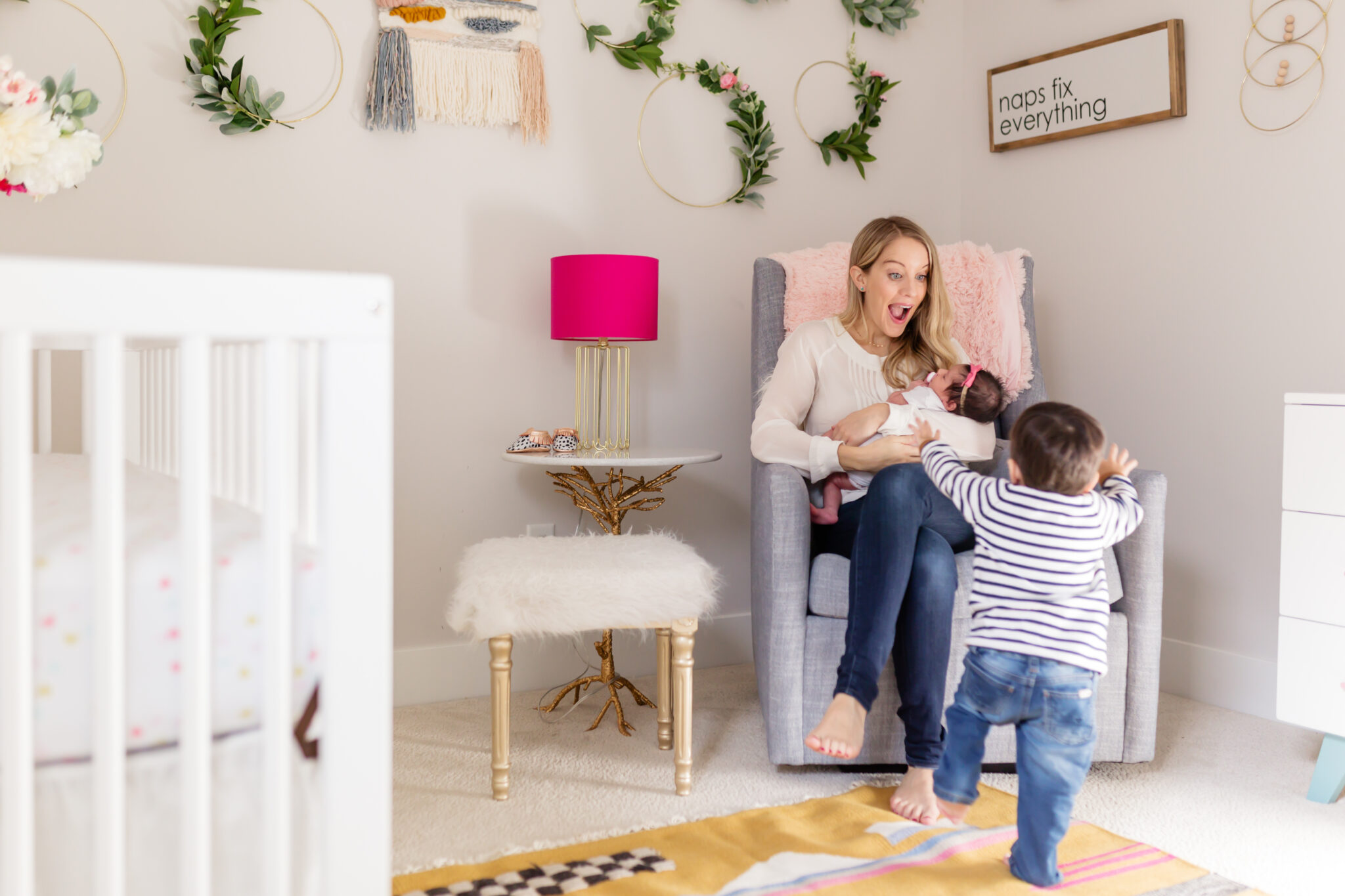 family in boho chic floral nursery