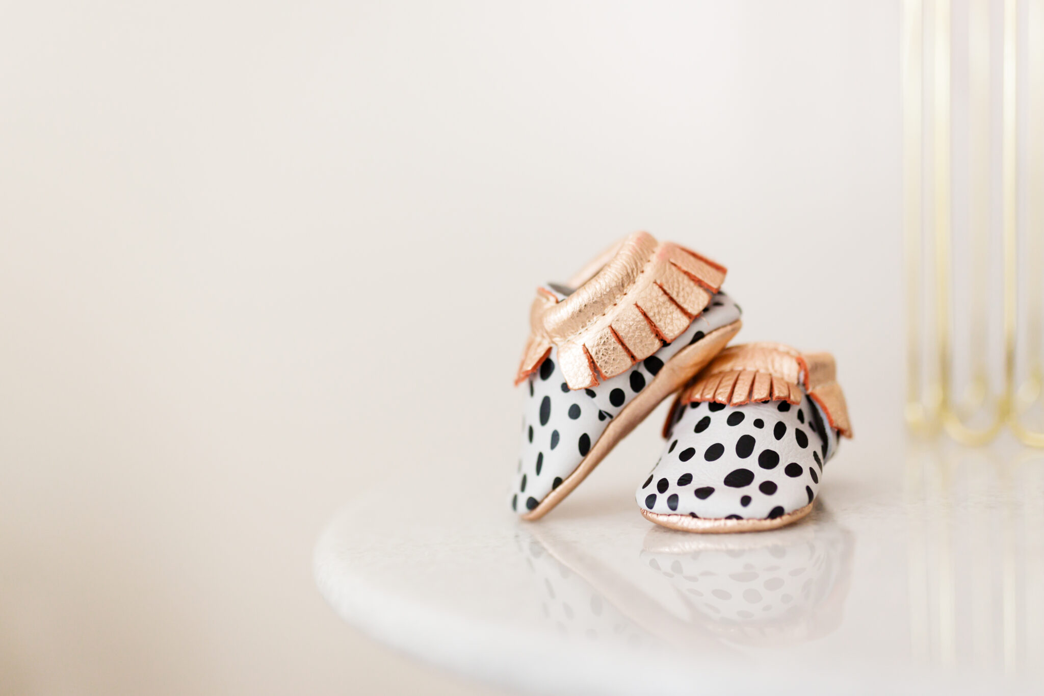 freshly picked polka dot and rose gold shoes
