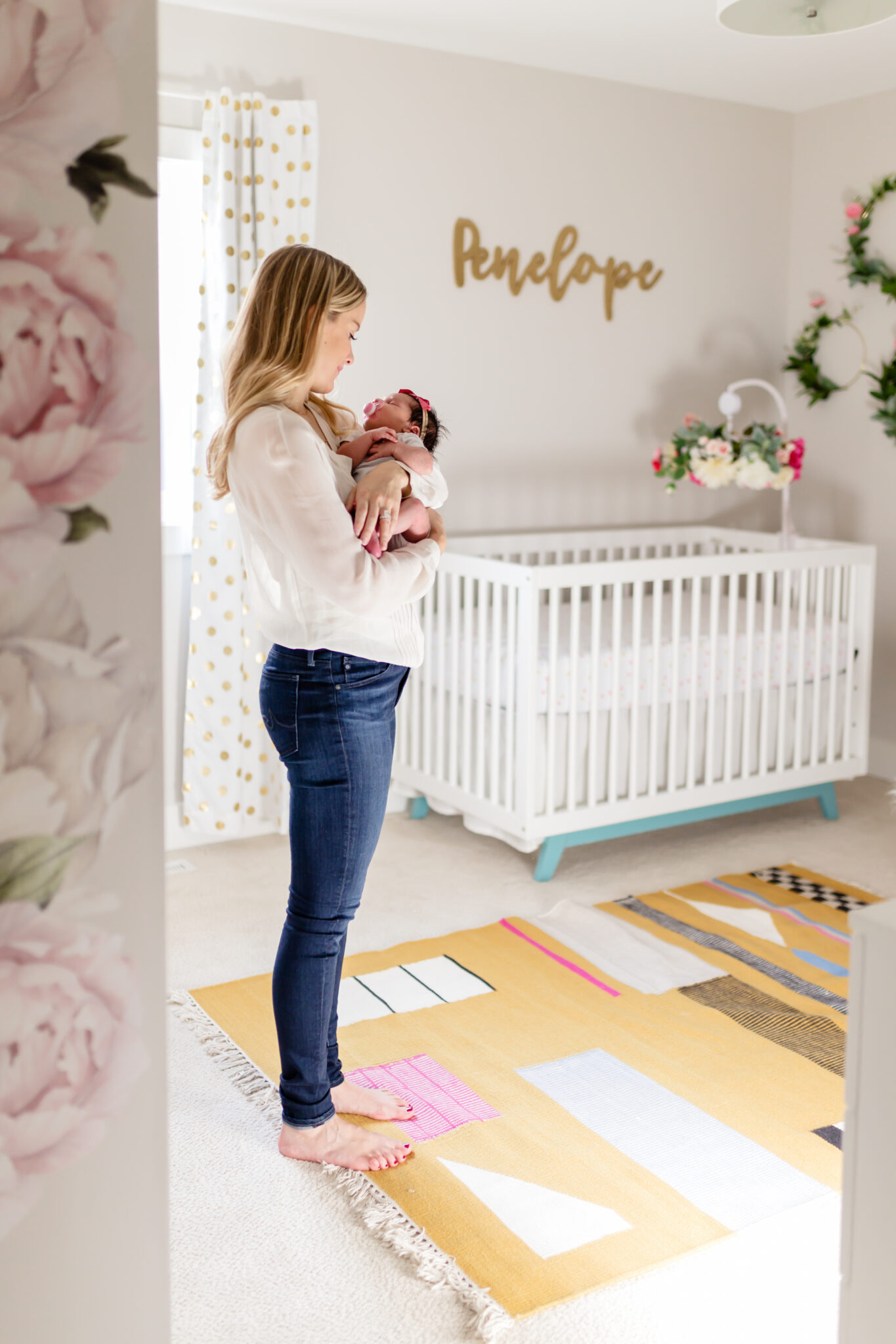 yellow and pink nursery with floral