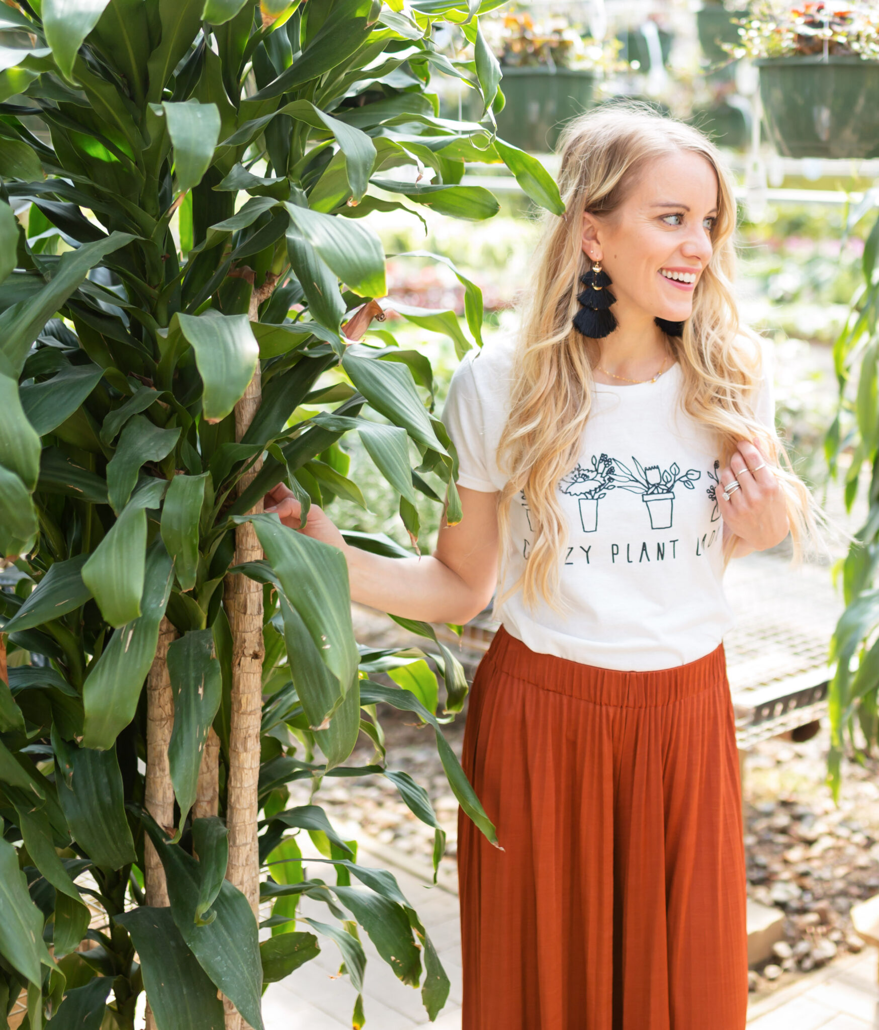 crazy plant lady graphic tee with elizabeth and james pleated pants and long beachy waves