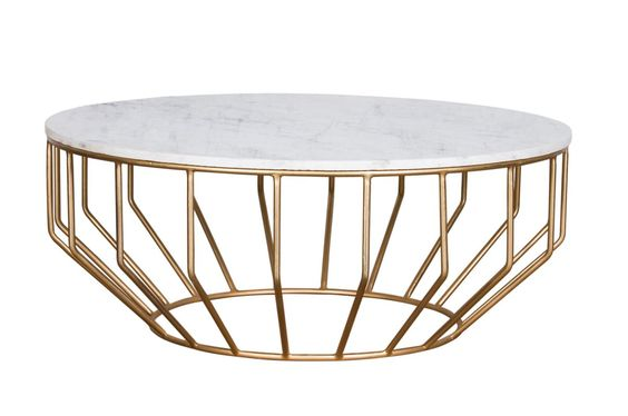 holland coffee table. white and gold round coffee table