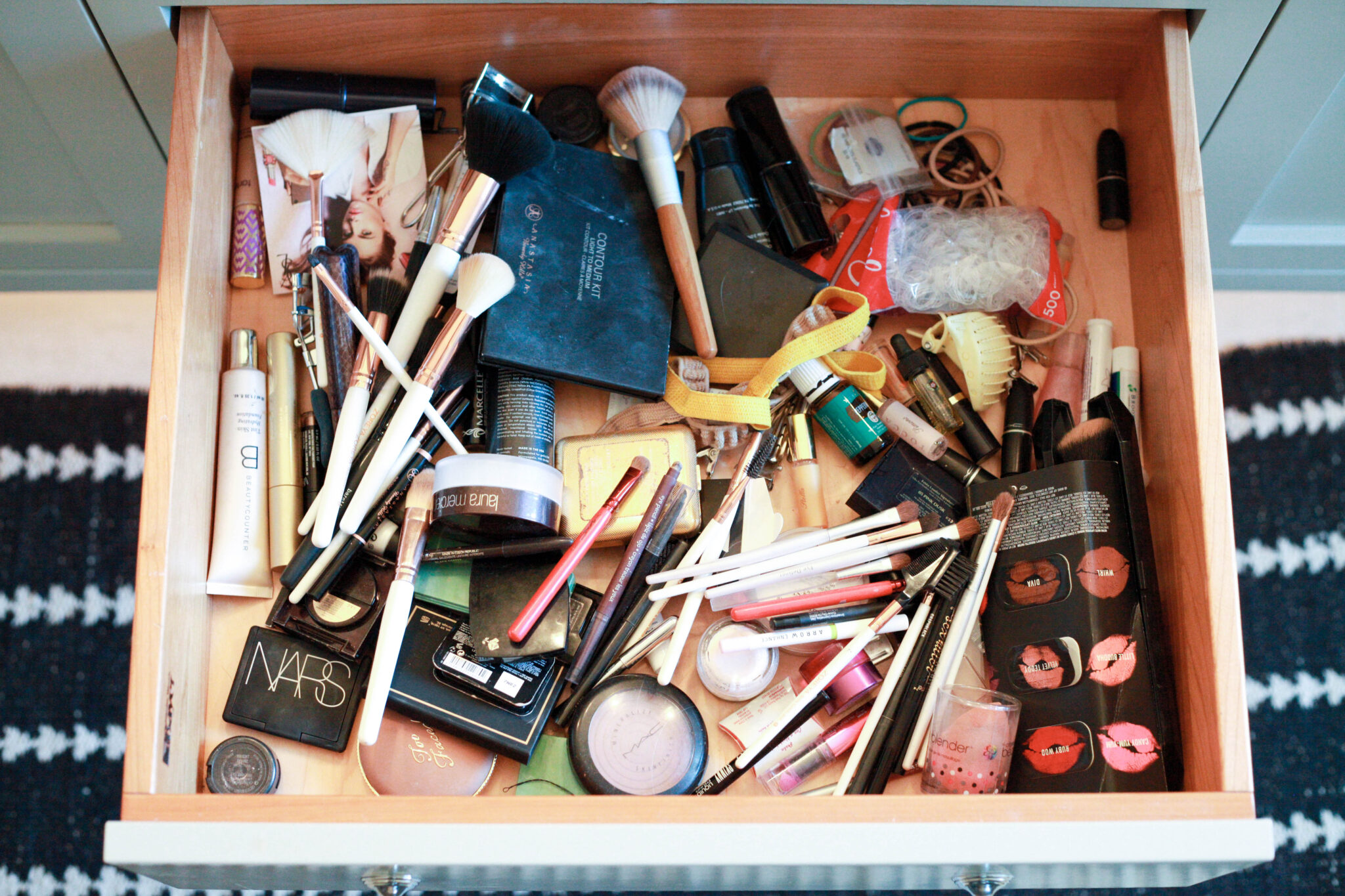 How to Organize Your Makeup Drawer - step 1, the mess!