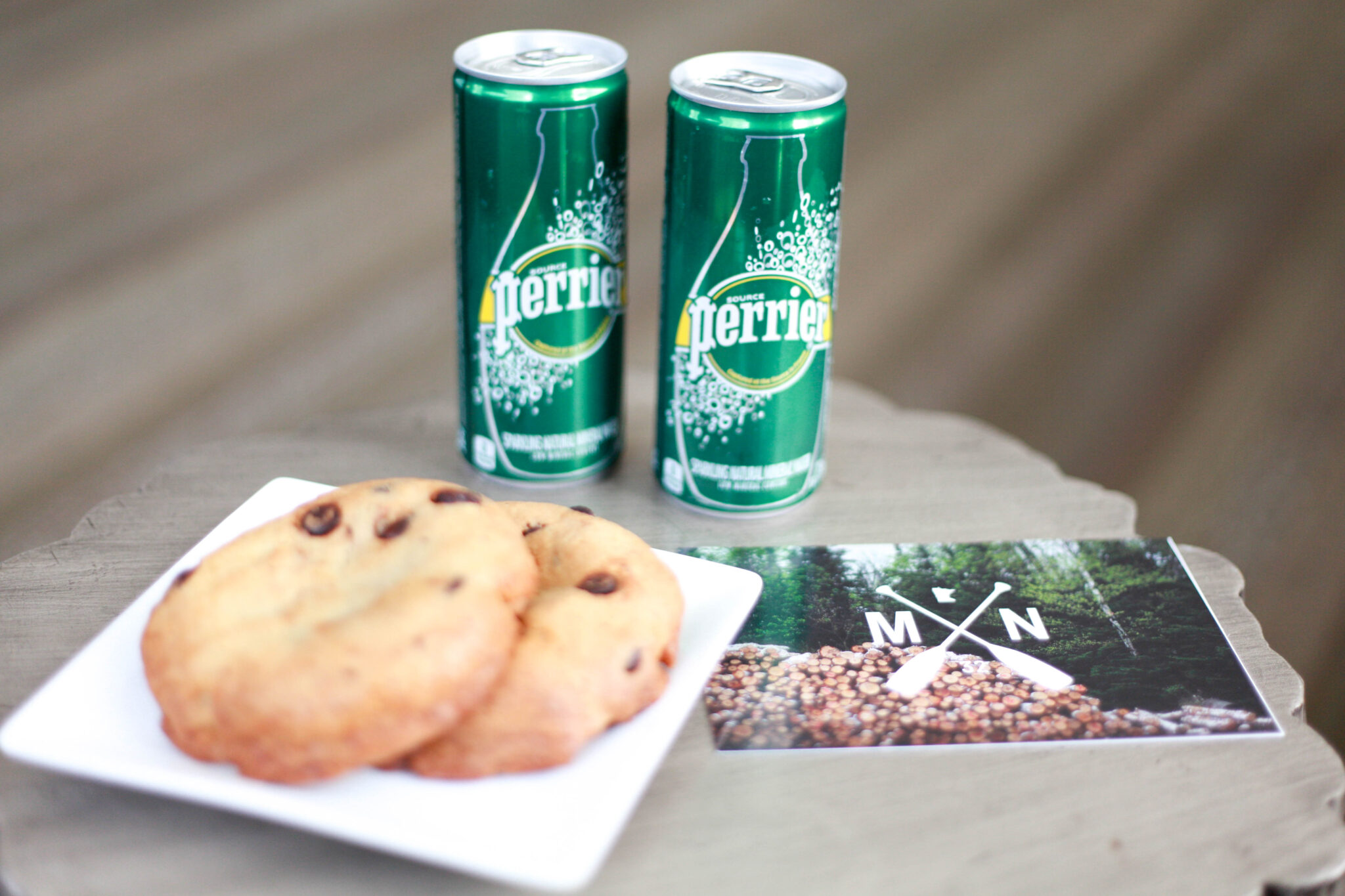 perrier and cookies at grand hotel