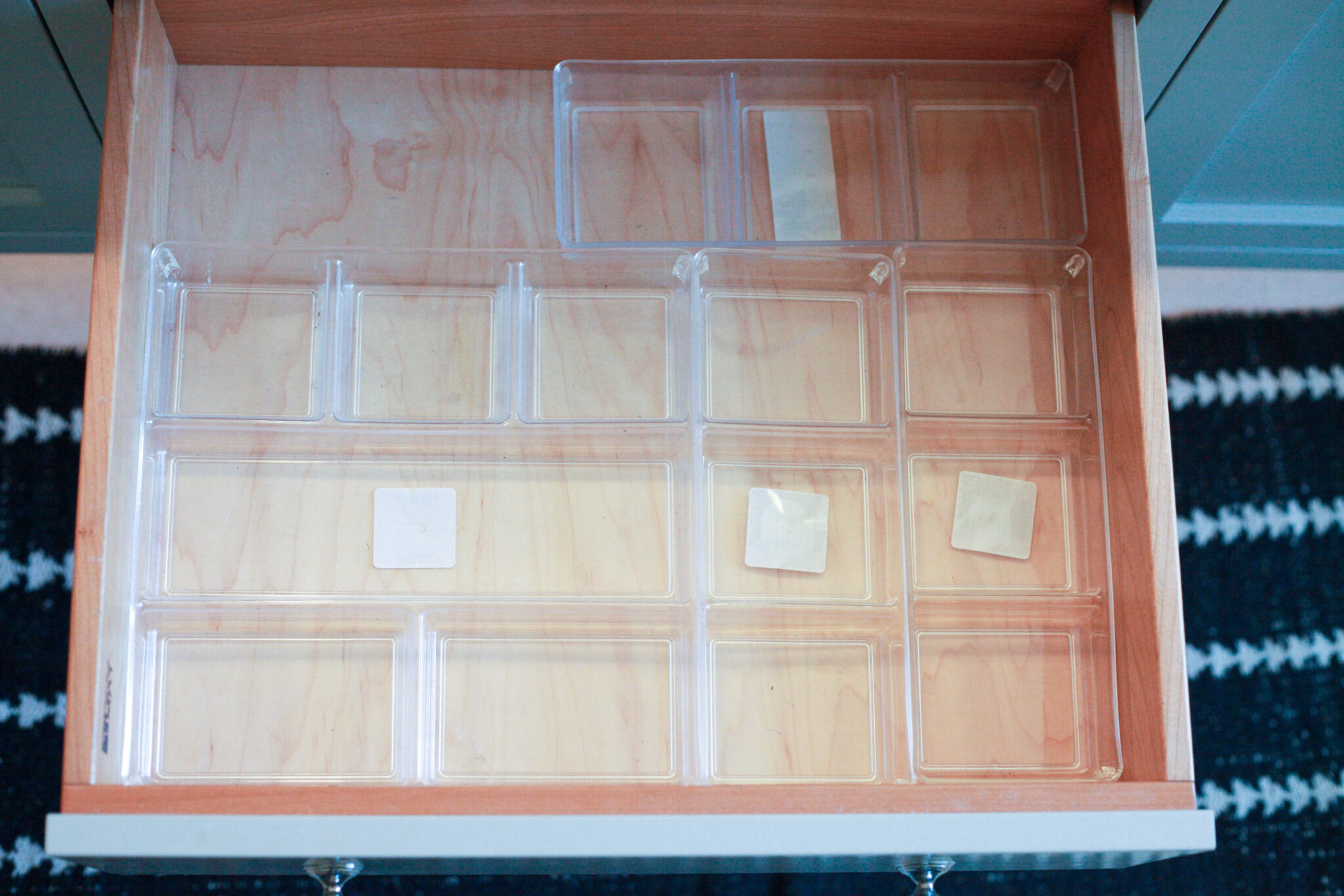 How to Organize Your Makeup Drawer - trays inserted into makeup drawer