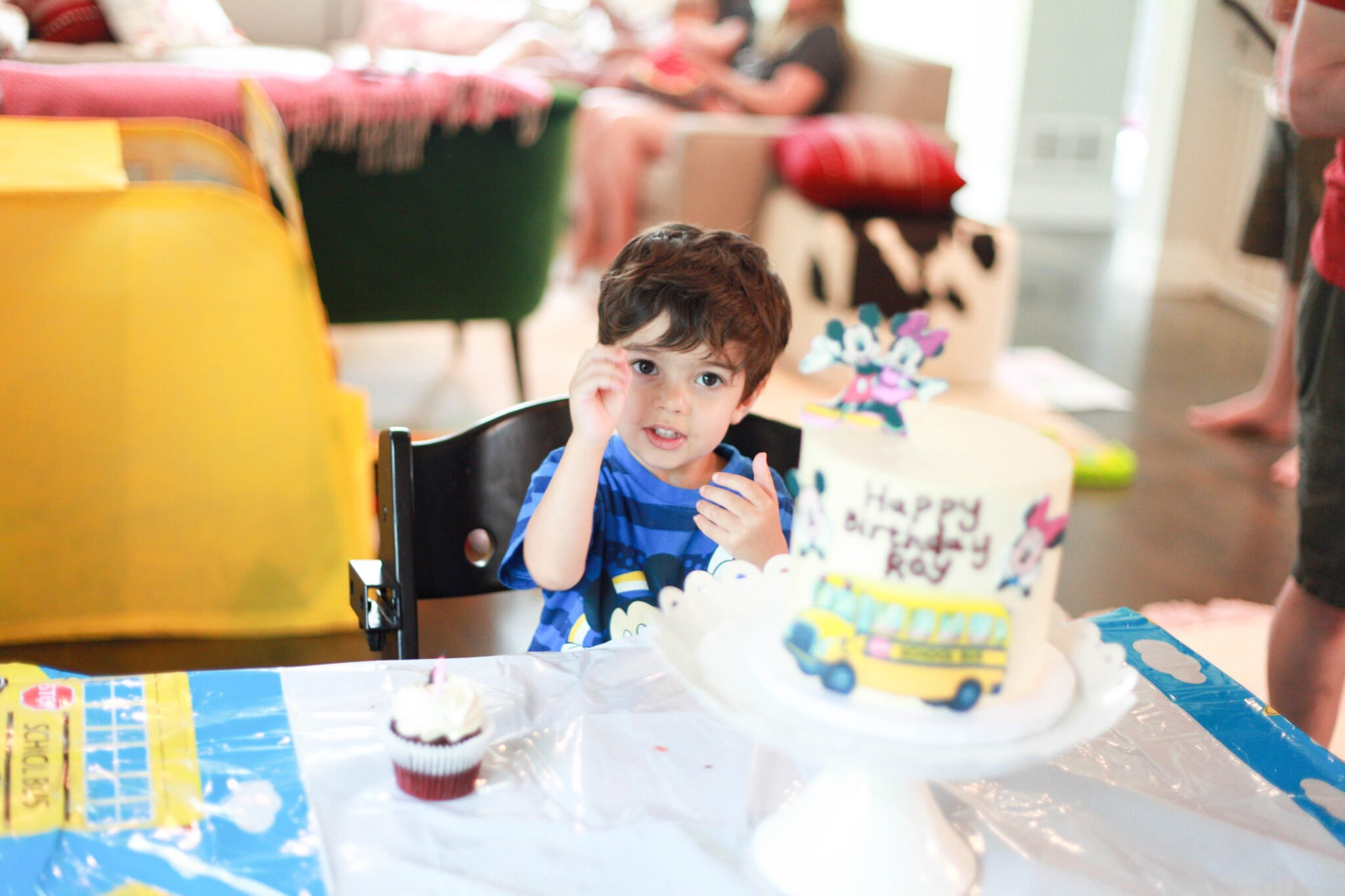 mickey mouse birthday cake and ears and tee