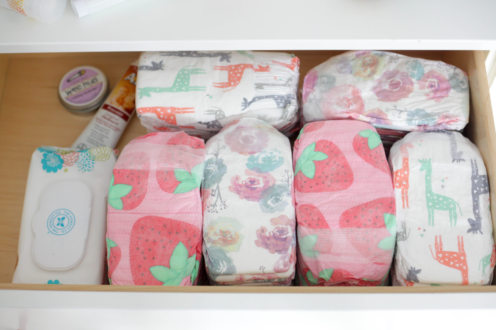 organizing baby's closet - dresser drawers with diapers