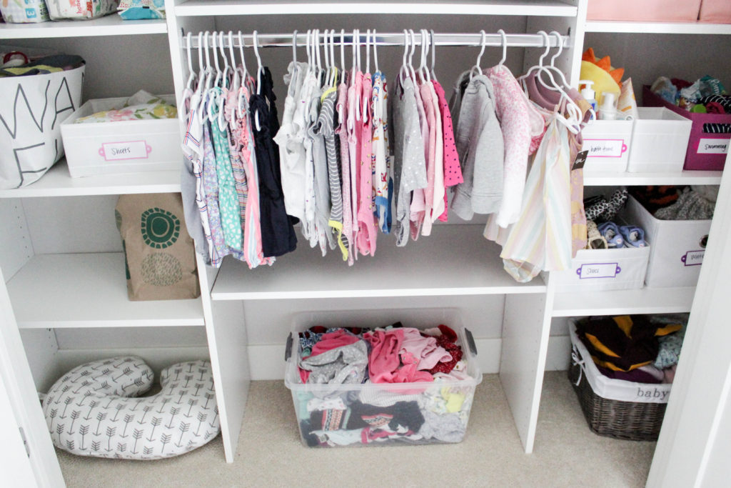 Mom Hacks - Keep a bin in your child's closet for clothes that are too small.