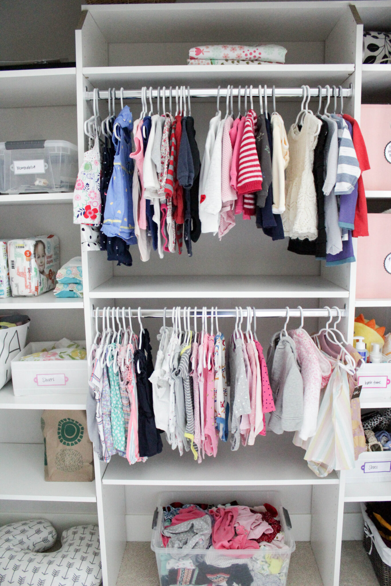 Organized Baby Closet Clothes That Are Too Small