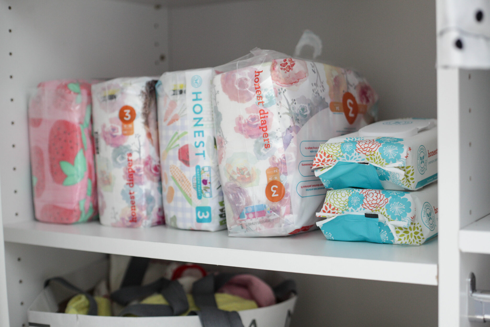 organizing baby closet - diapers and wipes
