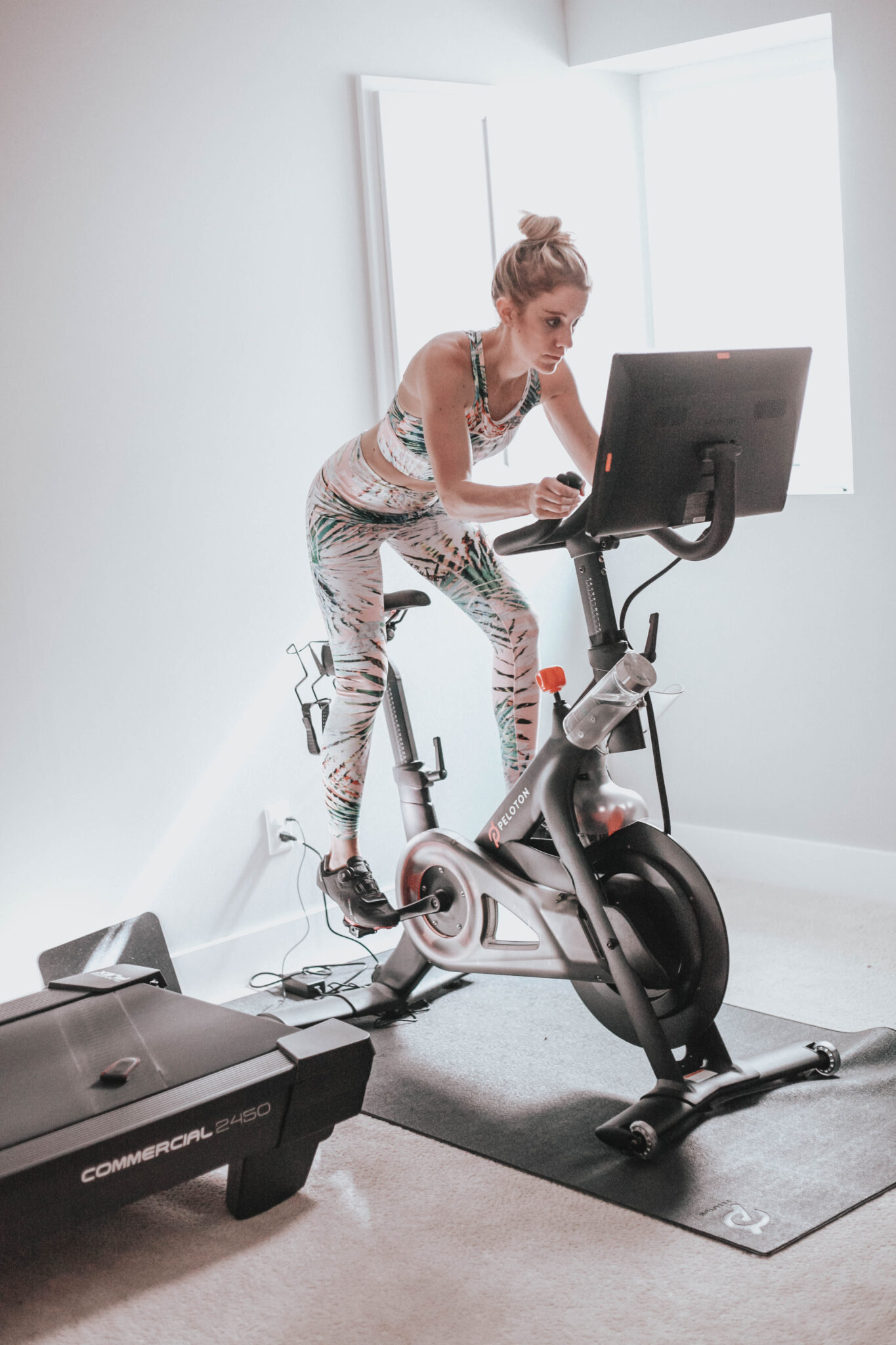 peloton bike wearing a fabletics outfit