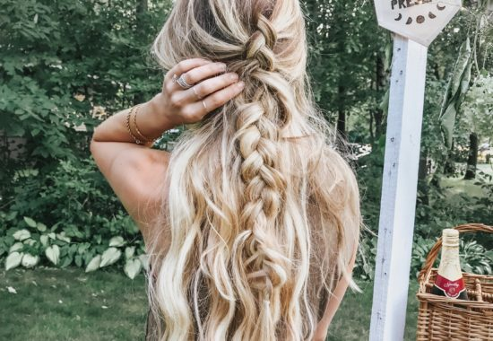 long mermaid hair in half up braid