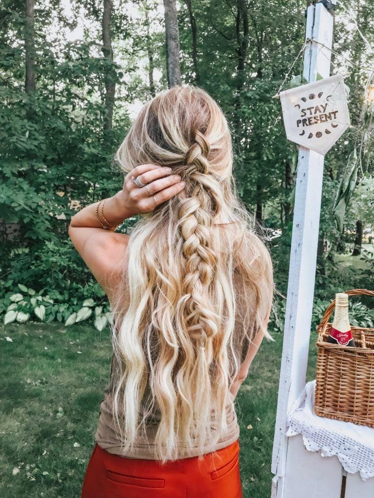 long mermaid hair in half up braid