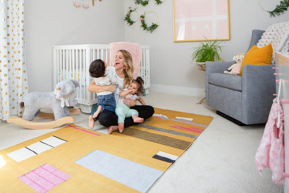 Jen Biswas from Paisley + Sparrow in Girly pink and yellow nursery