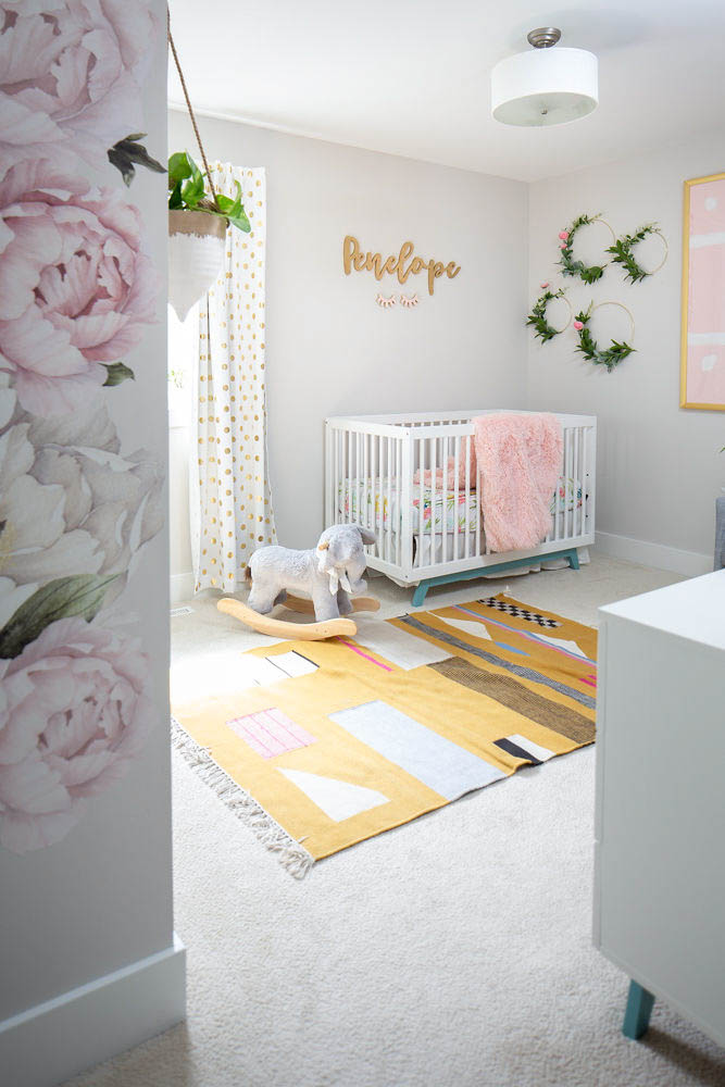 Pink and yellow girly nursery