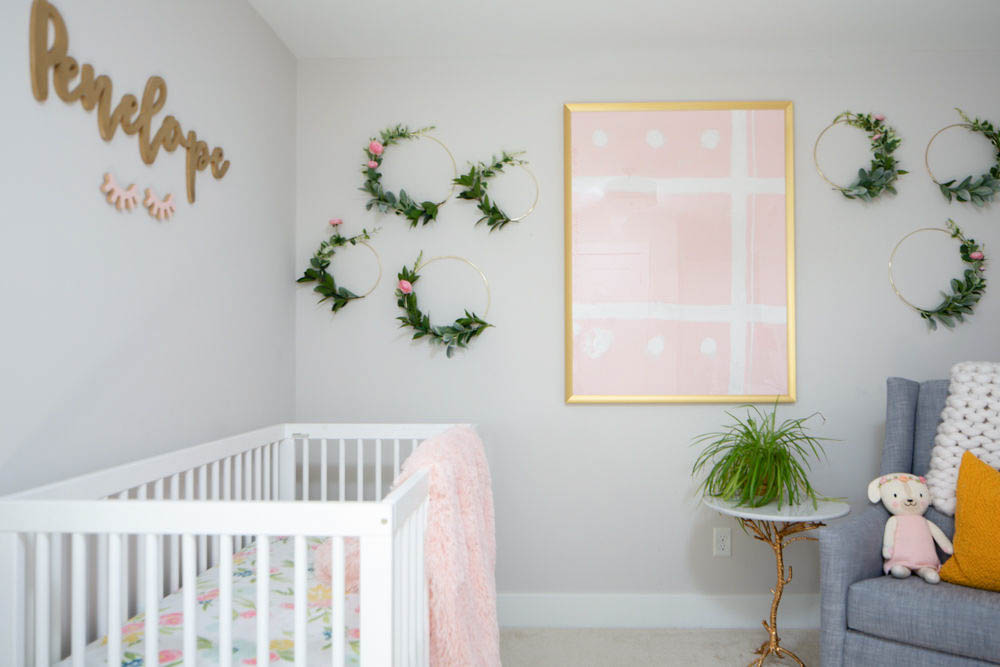Girly pink and yellow nursery