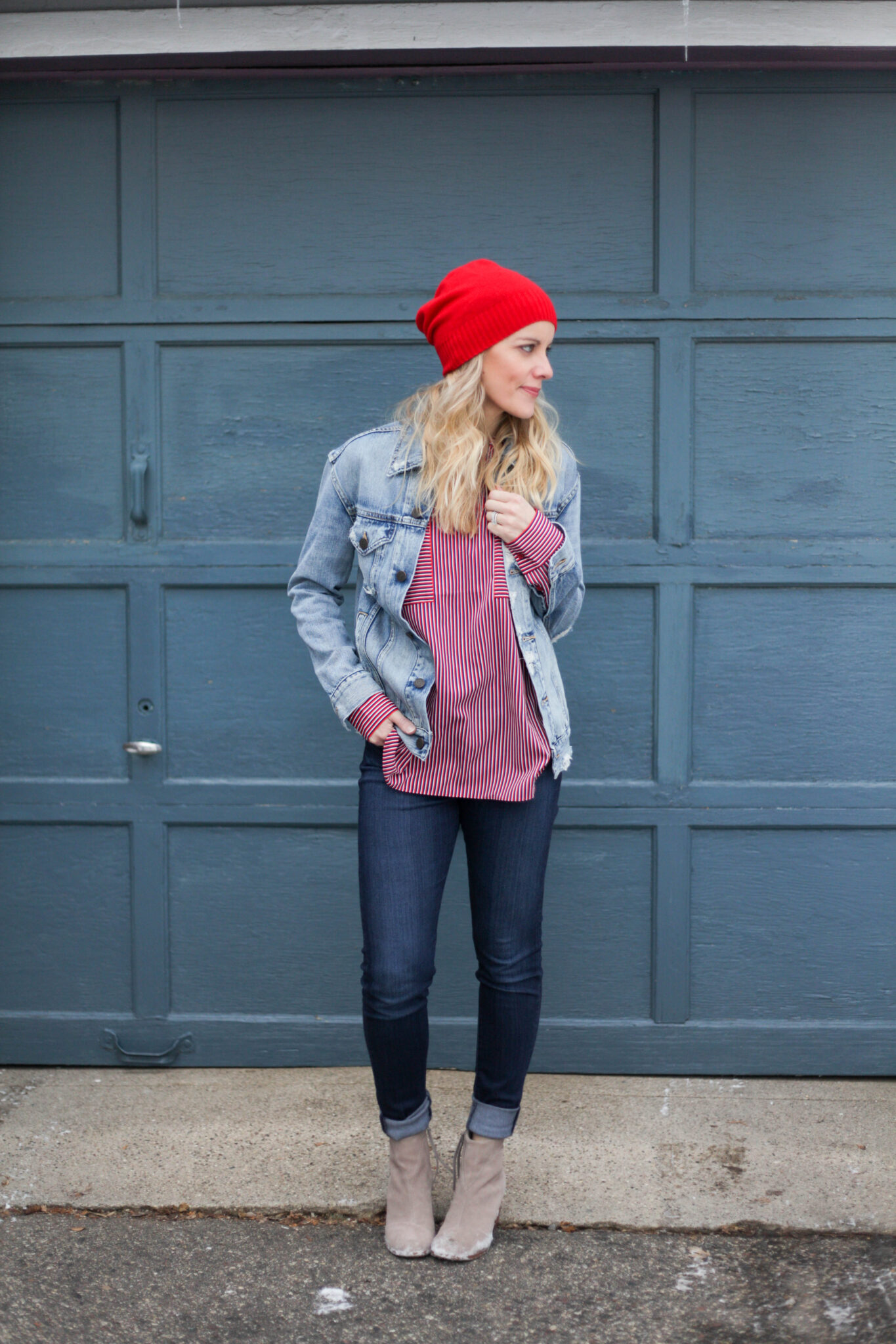 Denim on denim outfit - the Canadian tuxedo!
