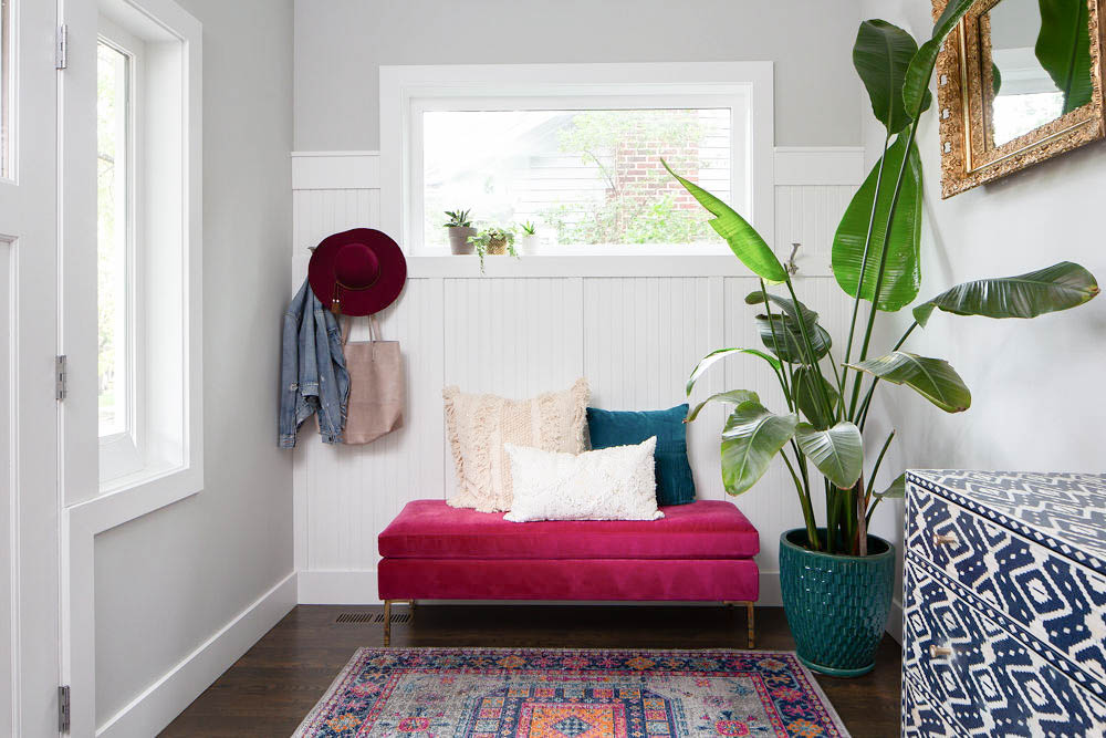 Pink bench entryway